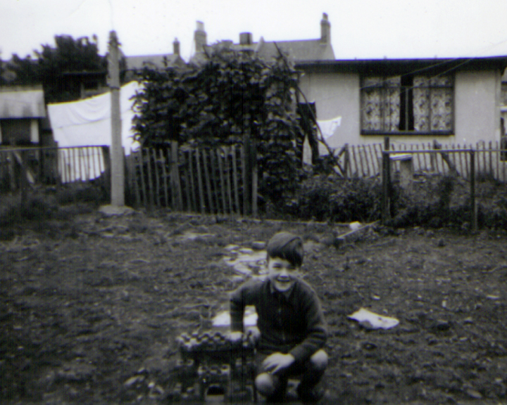 me in the back garden of Prefab 198 Underhill Road