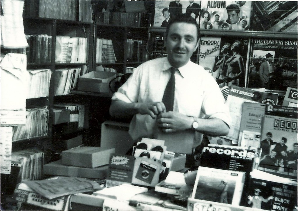 Folletts Music Shop in the early 1960s. This is Mr Bawcutt (the owner)